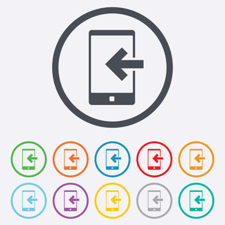 Incoming call sign icon. Smartphone symbol. Round circle buttons with frame. Vector Vector