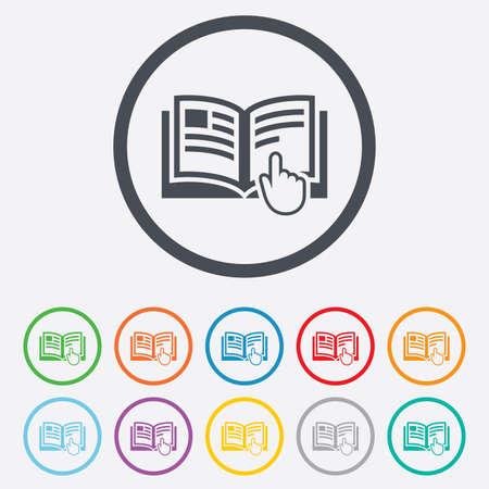 命令標識アイコン。マニュアル書籍のシンボルです。使用する前に読みます。フレーム丸ボタン。ベクトル  イラスト・ベクター素材