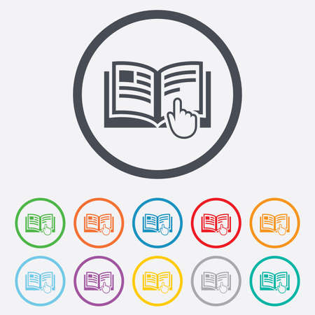 Instructie teken pictogram. Handmatige boek symbool. Lees voor gebruik. Ronde cirkel knoppen met frame. Vector