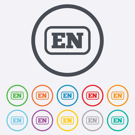 en: English language sign icon. EN translation symbol with frame. Round circle buttons with frame. Vector