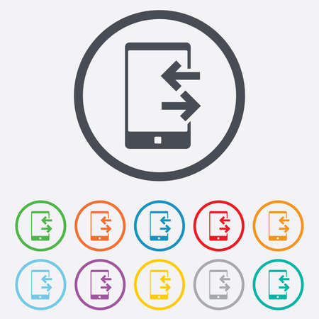 Incoming and outcoming calls sign icon. Smartphone symbol. Round circle buttons with frame. Vector Vector