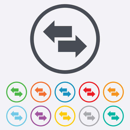 outgoing: Incoming and outgoing calls sign. Upload. Download arrow symbol. Round circle buttons with frame. Vector