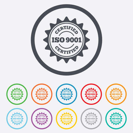 ISO 9001 certified sign icon. Certification star stamp. Round circle buttons with frame. Vector Vector