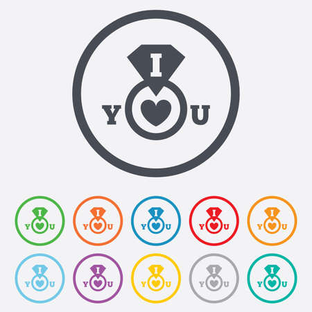 i love you sign: I Love you sign icon. Valentines day symbol. Round circle buttons with frame. Vector Illustration