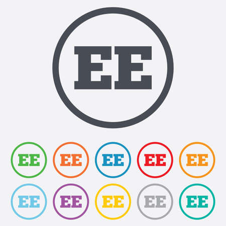 ee: Estonian language sign icon. EE translation symbol. Round circle buttons with frame. Vector