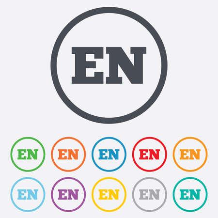 en: English language sign icon. EN translation symbol. Round circle buttons with frame. Vector Illustration