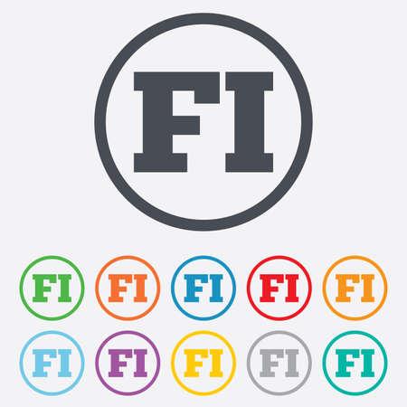 핀란드의: 핀란드어 기호 아이콘입니다. FI 핀란드 번역 상징. 프레임 라운드 원 버튼. 벡터