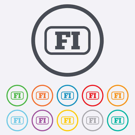 fi: Finnish language sign icon. FI Finland translation symbol with frame. Round circle buttons with frame. Vector Illustration