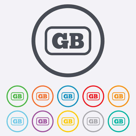 gb: British language sign icon. GB Great Britain translation symbol with frame. Round circle buttons with frame. Vector Illustration