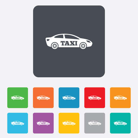 Taxi car sign icon. Sedan saloon symbol. Transport. Rounded squares 11 buttons. photo