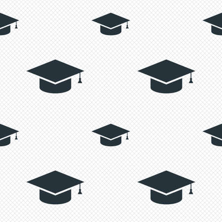 higher quality: Graduation cap sign icon. Higher education symbol. Seamless grid lines texture. Cells repeating pattern. White texture background.