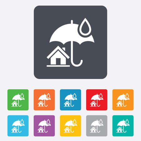 belay: Home insurance sign icon. Real estate insurance symbol. Rounded squares 11 buttons. Stock Photo