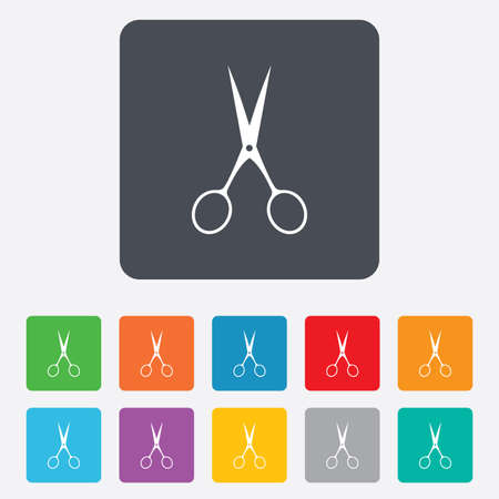 disclosed: Scissors hairdresser sign icon. Tailor symbol. Rounded squares 11 buttons.