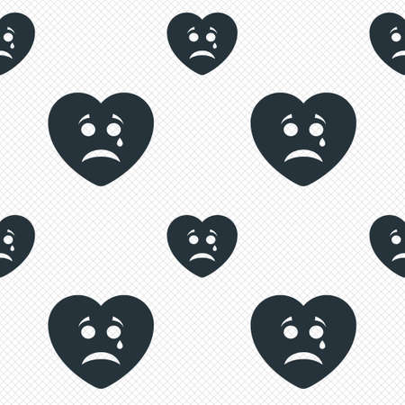 Sad heart face with tear sign icon. Crying chat symbol. Seamless grid lines texture. Cells repeating pattern. White texture background. photo