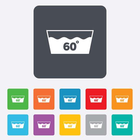 washable: Icono Wash. Lavar a m�quina a 60 grados s�mbolo. Cuadrados redondeados 11 botones.