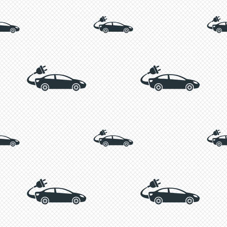 electric grid: Electric car sign icon. Sedan saloon symbol. Electric vehicle transport. Seamless grid lines texture. Cells repeating pattern. White texture background.