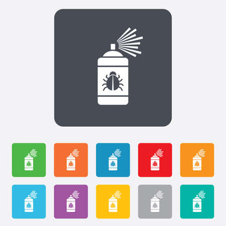 sprayer: Bug disinfection sign icon. Fumigation symbol. Bug sprayer. Rounded squares 11 buttons.