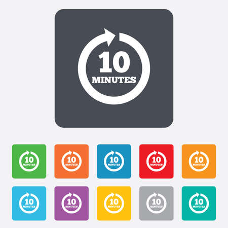 Every 10 minutes sign icon. Full rotation arrow symbol. Rounded squares 11 buttons. photo