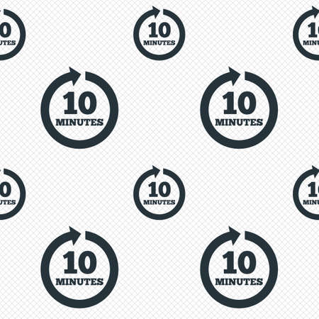 Every 10 minutes sign icon. Full rotation arrow symbol. Seamless grid lines texture. Cells repeating pattern. White texture background. photo