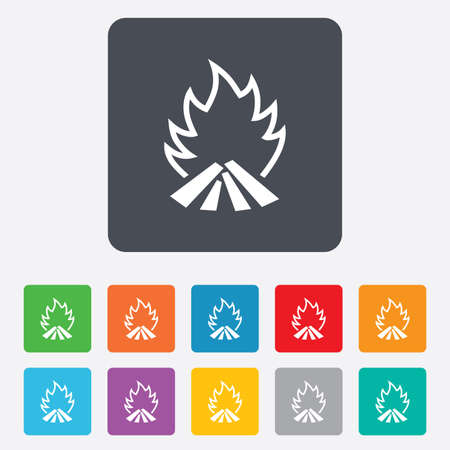 fire escape: Fire flame sign icon. Heat symbol. Stop fire. Escape from fire. Rounded squares 11 buttons.