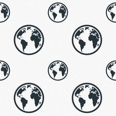 globe grid: Globe sign icon. World map geography symbol. Seamless grid lines texture. Cells repeating pattern. White texture background.