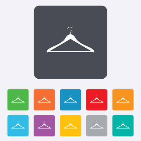 cloakroom: Hanger sign icon. Cloakroom symbol. Rounded squares 11 buttons.