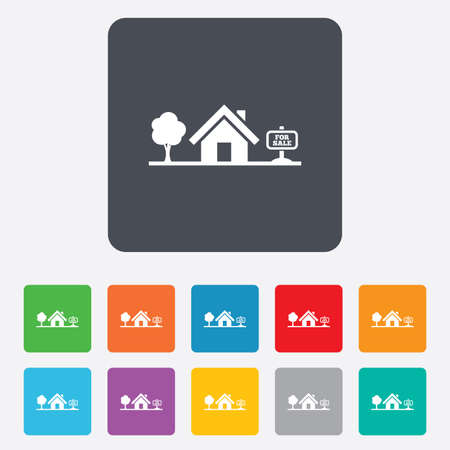 house for sale: Home sign icon. House for sale. Broker symbol. Rounded squares 11 buttons.