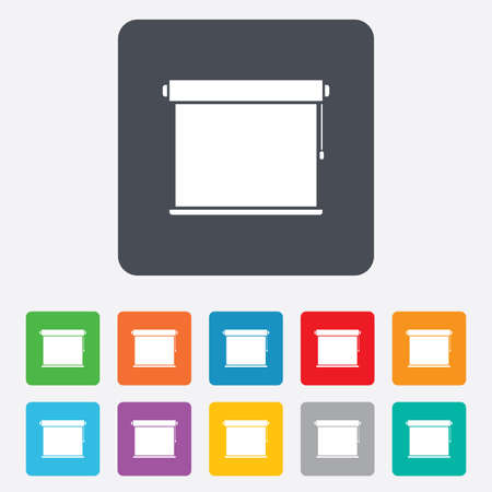 roll curtains: Louvers rolls sign icon. Window blinds or jalousie symbol. Rounded squares 11 buttons.
