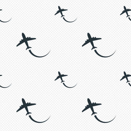 Airplane sign icon. Travel trip symbol. Seamless grid lines texture. Cells repeating pattern. White texture background. photo