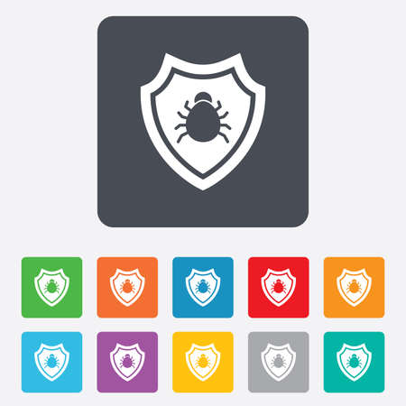 Shield sign icon. Virus protection symbol. Bug symbol. Rounded squares 11 buttons. photo
