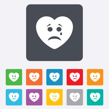 Sad heart face with tear sign icon. Crying chat symbol. Rounded squares 11 buttons. photo