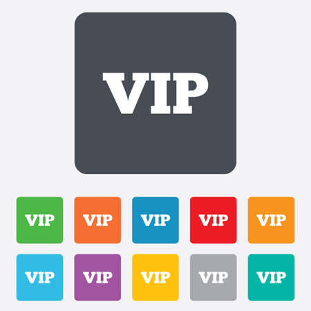 very important person sign: Vip sign icon. Membership symbol. Very important person. Rounded squares 11 buttons. Stock Photo