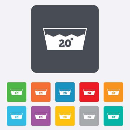 washable: Icono Wash. Lavar a m�quina a 20 grados s�mbolo. Cuadrados redondeados 11 botones. Foto de archivo