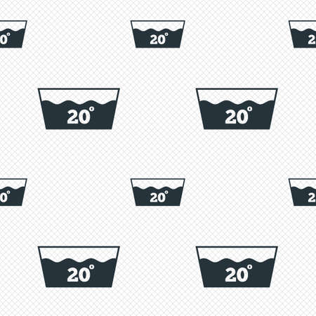 washbowl: Wash icon. Machine washable at 20 degrees symbol. Seamless grid lines texture. Cells repeating pattern. White texture background.
