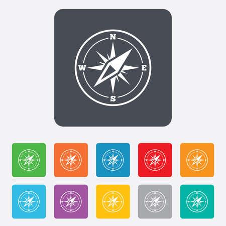 コンパスの記号アイコン。ウインド ローズ ナビゲーション記号です。角丸正方形の 11 ボタン。