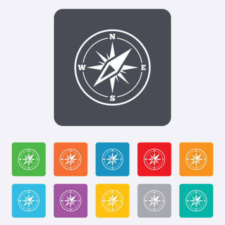 Compass sign icon. Windrose navigation symbol. Rounded squares 11 buttons. Stock Photo