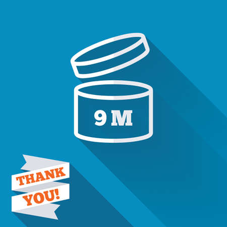 After opening use 9 months sign icon. Expiration date. White flat icon with long shadow. Paper ribbon label with Thank you text. photo