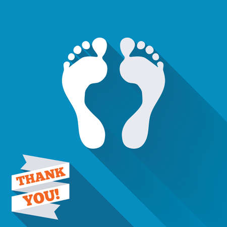 Human footprint sign icon. Barefoot symbol. Foot silhouette. White flat icon with long shadow. Paper ribbon label with Thank you text.