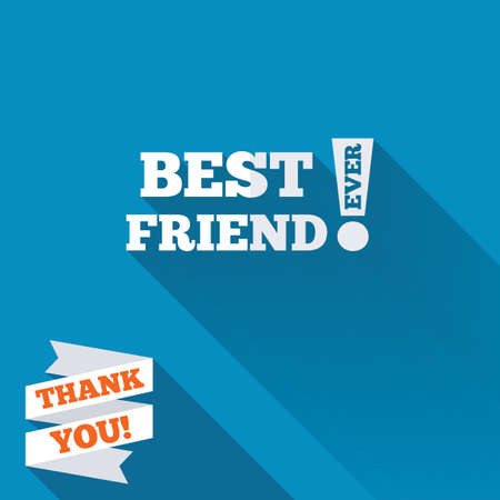 Best friend ever sign icon. Award symbol. Exclamation mark. White flat icon with long shadow. Paper ribbon label with Thank you text. photo