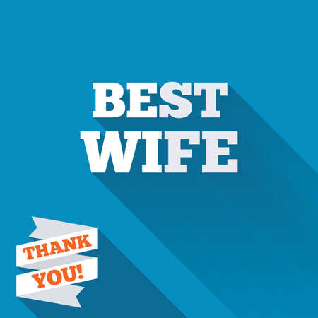 Best wife sign icon. Award symbol. White flat icon with long shadow. Paper ribbon label with Thank you text. photo