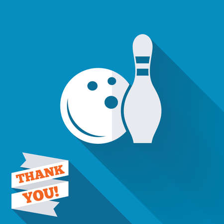 Bowling game sign icon. Ball with pin skittle symbol. White flat icon with long shadow. Paper ribbon label with Thank you text. photo
