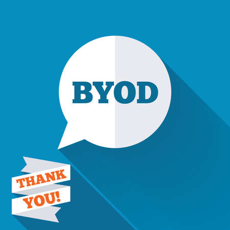 BYOD sign icon. Bring your own device symbol. Speech bubble sign. White flat icon with long shadow. Paper ribbon label with Thank you text. photo