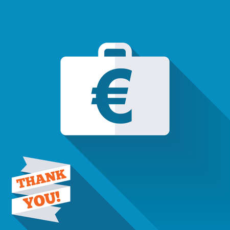 paper case: Case with Euro EUR sign icon. Briefcase button. White flat icon with long shadow. Paper ribbon label with Thank you text.