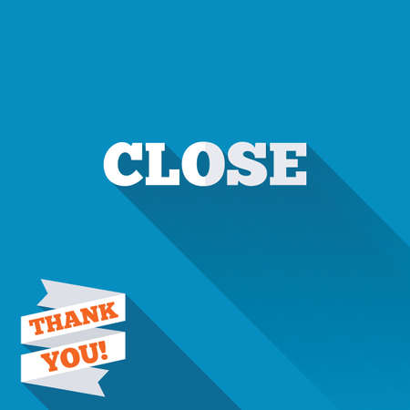 Close sign icon. Cancel symbol. White flat icon with long shadow. Paper ribbon label with Thank you text. photo