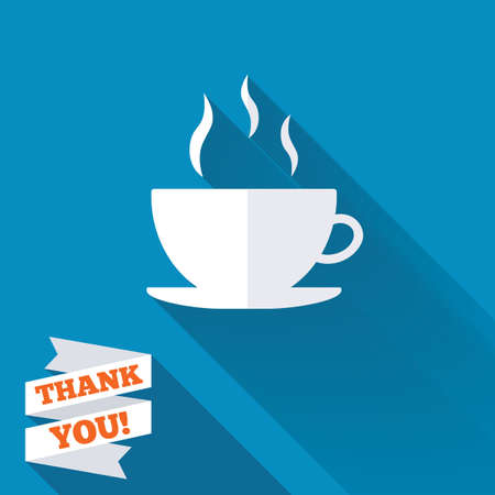 Coffee cup sign icon. Hot coffee button. White flat icon with long shadow. Paper ribbon label with Thank you text. photo