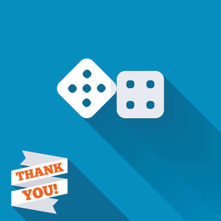 Dices sign icon. Casino game symbol. White flat icon with long shadow. Paper ribbon label with Thank you text. photo