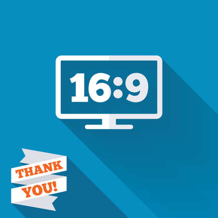 widescreen: Aspect ratio 16:9 widescreen tv sign icon. Monitor symbol. White flat icon with long shadow. Paper ribbon label with Thank you text.