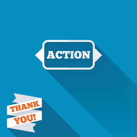Action sign icon. Motivation button with arrow. White flat icon with long shadow. Paper ribbon label with Thank you text. photo