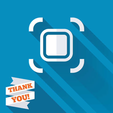 autofocus: Autofocus zone sign icon. Photo camera settings. White flat icon with long shadow. Paper ribbon label with Thank you text.
