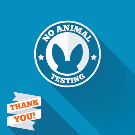 No animals testing sign icon. Not tested symbol. White flat icon with long shadow. Paper ribbon label with Thank you text. Stock Photo